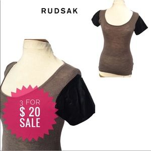 Rudsak Top with faux leather sleeves Sz S
